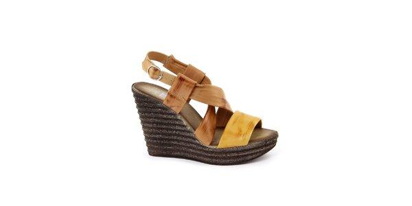 Dámske kožené hnedo-horčicové sandálky so širokými remienkami Julie Julie