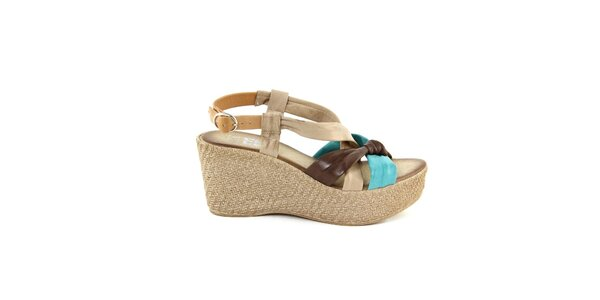 Dámske kožené hnedo-tyrkysové sandálky Julie Julie