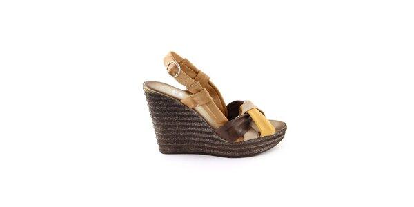 Dámske kožené hnedo-horčicové sandálky Julie Julie