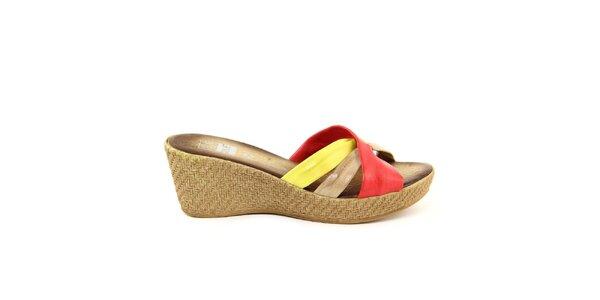 Dámske kožené červeno-žlté nazúvacie sandálky Julie Julie