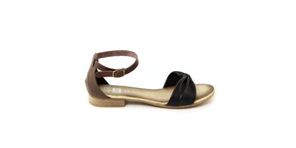 Dámske čierne kožené sandálky s hnedým remienkom Julie Julie