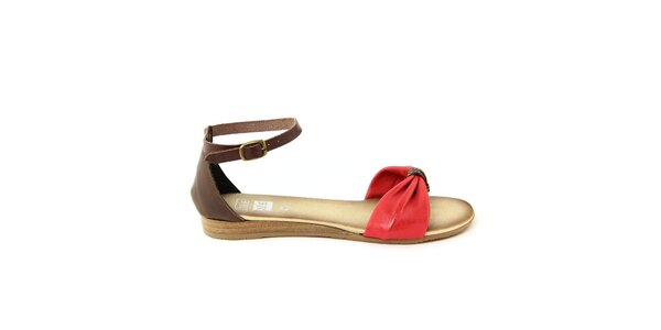 Dámske červeno-hnedé kožené sandálky Julie Julie