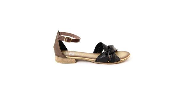 Dámske čierno-hnedé kožené sandálky Julie Julie