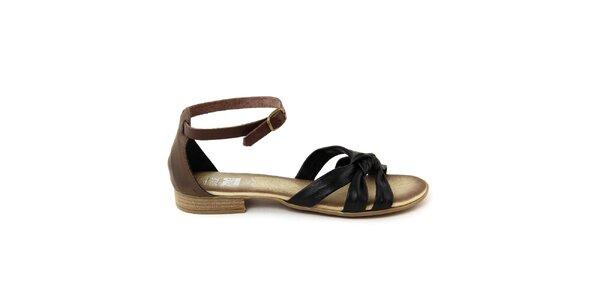 Dámske hnedo-čierne kožené sandálky Julie Julie
