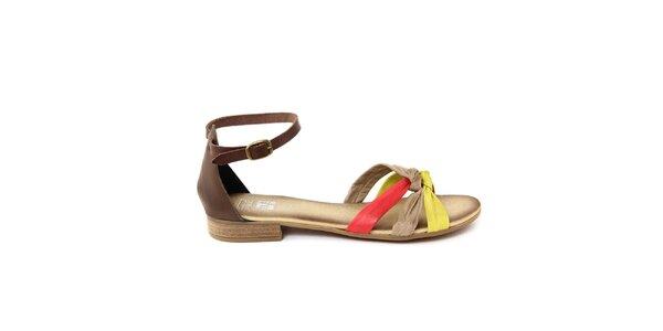Dámske kožené sandálky s farebnými remienkami Julie Julie