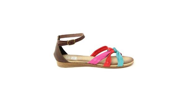 Dámske kožené sandálky s 3 farebnými remienkami Julie Julie