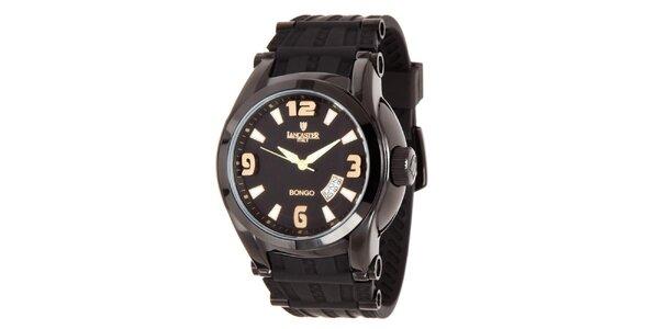 Pánske čierne analogové hodinky so zlatými detailmi Lancaster