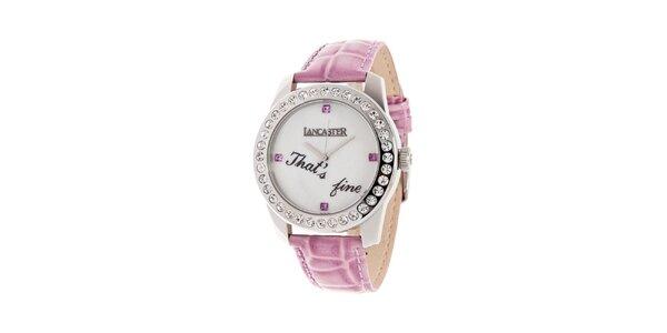 Dámske hodinky Lancaster s ružovým remienkom a nápisom
