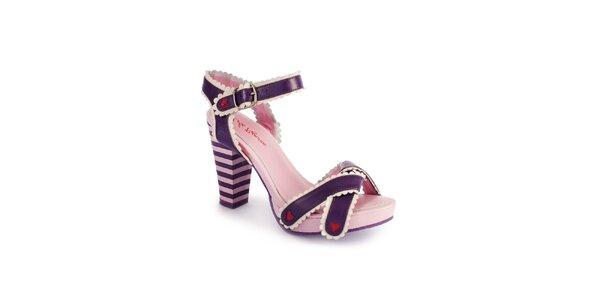 Dámske fialovo-ružové sandálky Lola Ramona s červenými detailmi