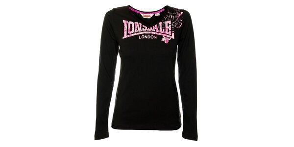 00019c94b578 Dámske čierne tričko s dlhým rukávom Lonsdale s ružovou potlačou