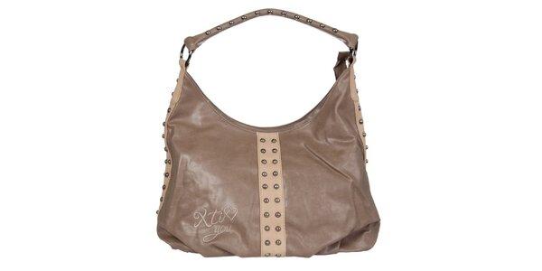Dámska hnedá kabelka Xti s kovovými cvokmi