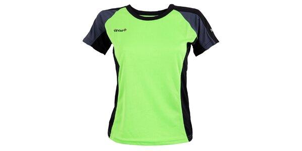 Dámske zelené funkčné tričko s tmavo šedými prvkami Izas