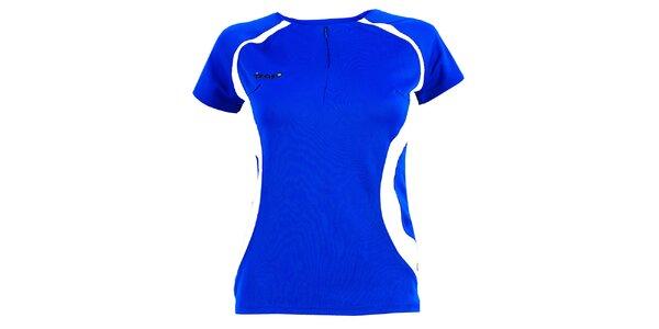 Dámske modré tričko s bielymi prvkami a zipsom Izas