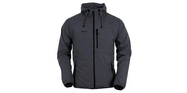 Pánska tmavo šedá bunda s kapucňou Izas