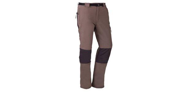 Pánske hnedo-šedé outdoorové nohavice s opaskom Izas