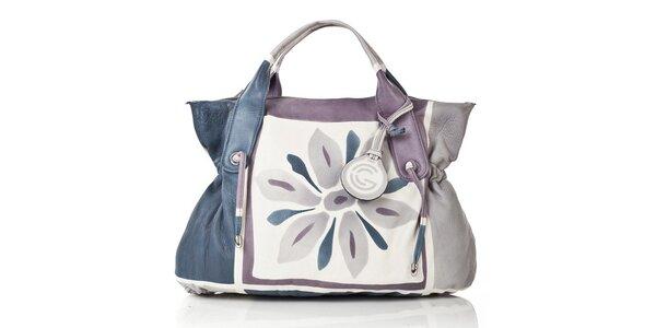 Dámska modro-fialovo-šedá kožená kabelka do ruky Gianni Conti