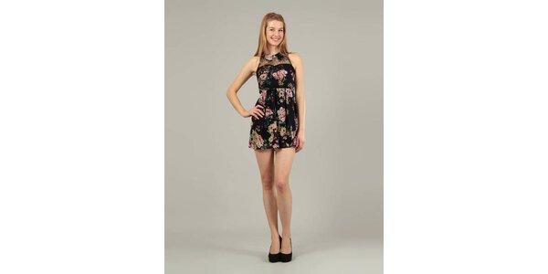 Dámske čierne mini šaty Jubylee s kvetinovou potlačou