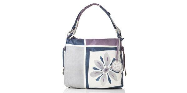 Dámska modro-fialovo-šedá kožená kabelka s kvetinou Gianni Conti