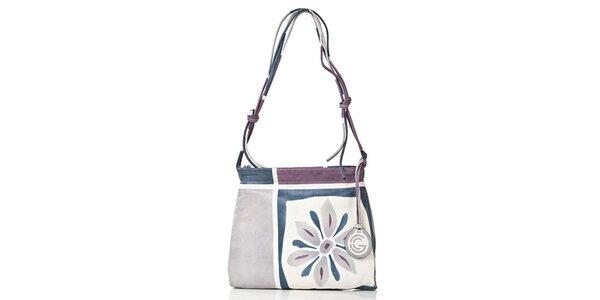 Dámska modrá kabelka s kvetinou Gianni Conti