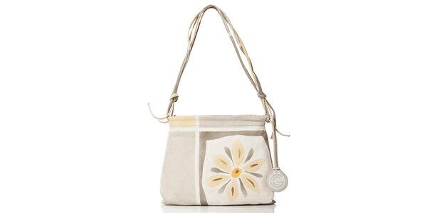 Dámska svetlá kabelka s kvetinou Gianni Conti