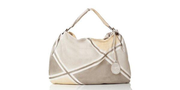 Dámska kožená svetlo károvaná kabelka Gianni Conti