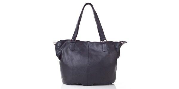 Dámska čierna kožená kabelka s popruhom Gianni Conti