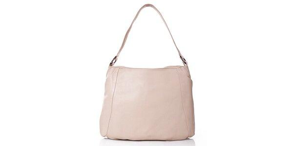 Dámska krémová kožená kabelka s vonkajším vreckom Gianni Conti