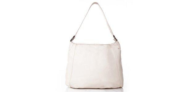 Dámska béžová kožená kabelka s vonkajším vreckom Gianni Conti
