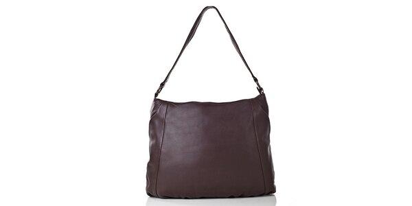 Dámska tmavo hnedá kožená kabelka s vonkajším vreckom Gianni Conti