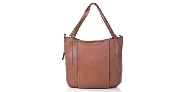 Dámska hnedá kožená kabelka s odnímateľným popruhom Gianni Conti