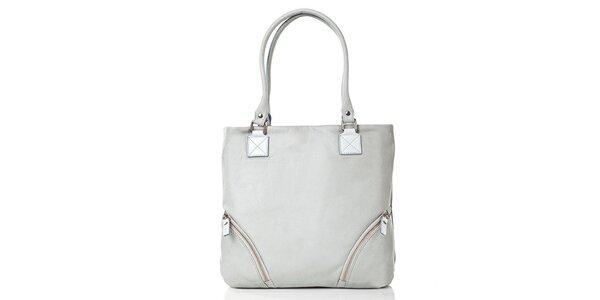 Dámska svetlo šedá kožená kabelka s vonkajším vreckom Gianni Conti