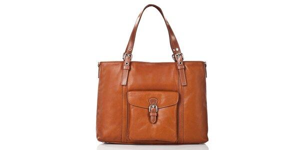 Dámska hnedá kožená kabelka s vonkajším klopovou vreckom Gianni Conti