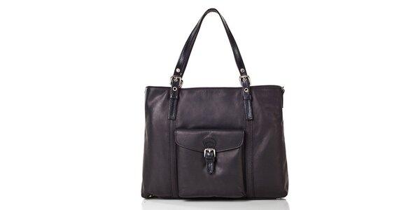 Dámska čierna štvorcová kabelka z kože Gianni Conti