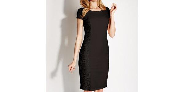 Dámske čierne čipkové púzdrové šaty Rylko