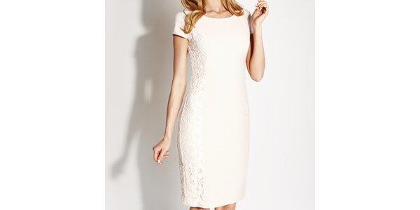 Dámske biele čipkové púzdrové šaty Rylko