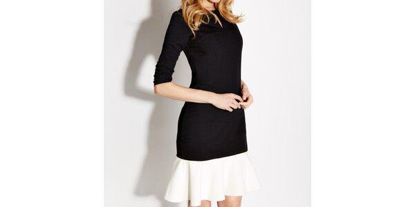 Dámske čierne šaty s bielym volánom Rylko
