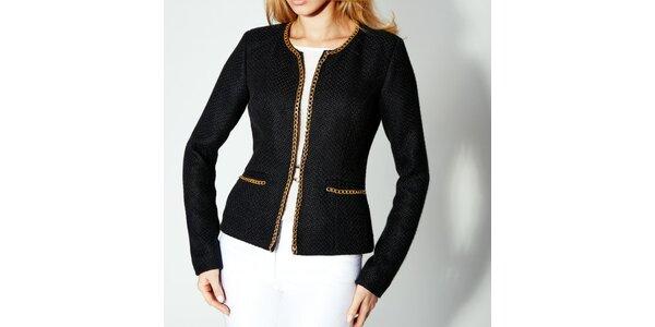 Dámske čierne sako so zlatou retiazkou Rylko