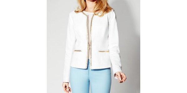 Dámske biele sako so zlatou retiazkou Rylko