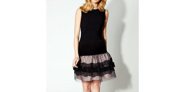 Dámske čierne šaty s tylovou sukňou Rylko