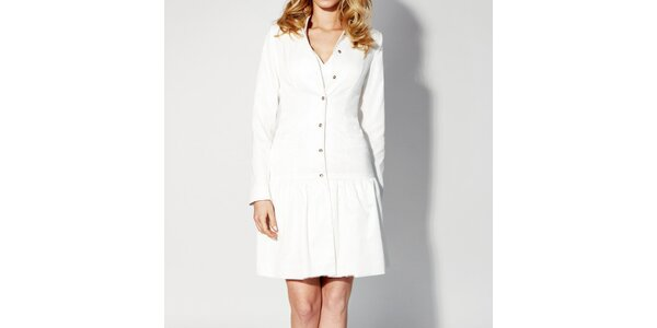 Dámske biele zapínacie šaty Rylko