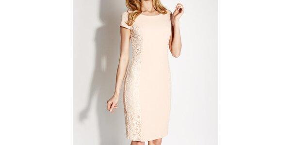 Dámske béžové čipkové púzdrové šaty Rylko