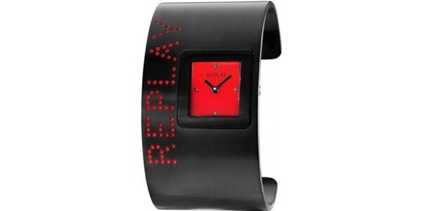Dámske čierno-červené šperkové hodinky Replay