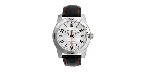 Pánske čierne analógové hodinky so strieborno-bielym ciferníkom Lancaster