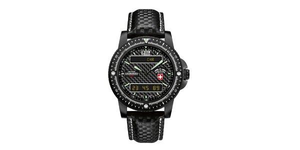 Pánske čierne analogo-digitálne hodinky Swiss Military