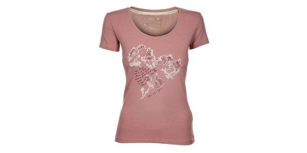 Dámske svetlo ružové tričko Calvin Klein s potlačou a kamienkami