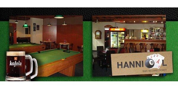 2,49 Eur za hodinu billiardu a 2 veľké kofoly v Hannibal bare so zľavou 53%