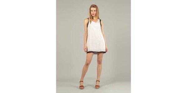 Dámske biele šaty Jubylee s čiernym lemom