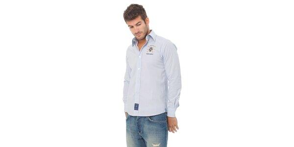 Pánska modrá kockovaná košeľa Valecuatro s výšivkou