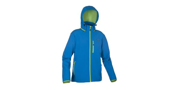 Pánska modrá softshellová bunda Envy so zelenými lemami