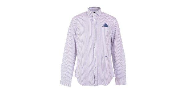 Pánska modro-bielo pruhovaná košeľa GAS